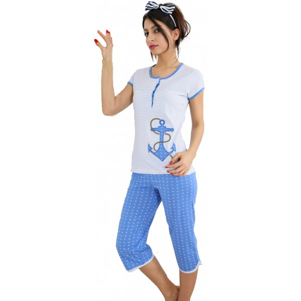 Pijama Pirata Manga Corta Mujer Boton Marinero