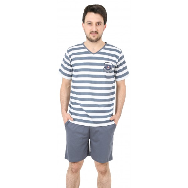 Pijama de Hombre Corto Pico Rayas