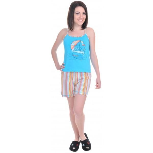 Pijama Corto Tirantes Mujer Barco Rayas