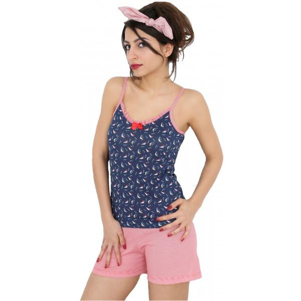 Pijama de Mujer Corto Tirantes Marino