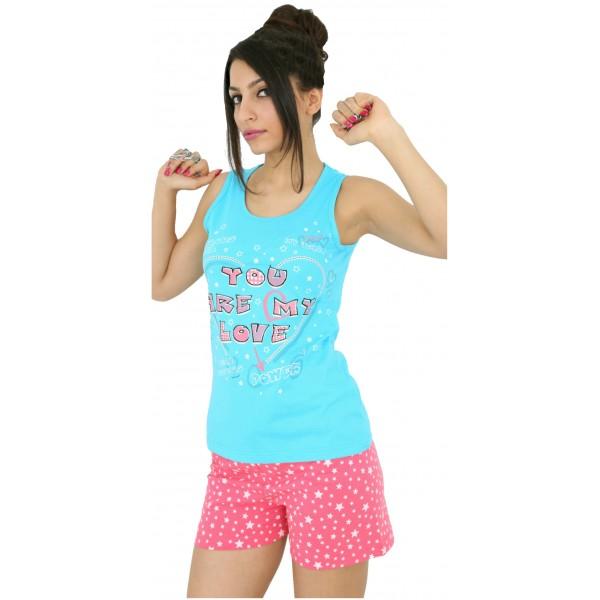 Pijama Corto Tirantes Manga Tirantes Estrellas