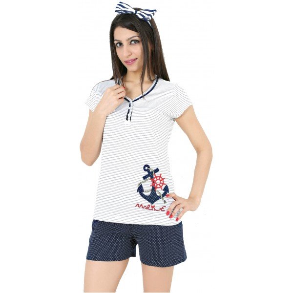 Pijama Corto Manga Mujer Marinero