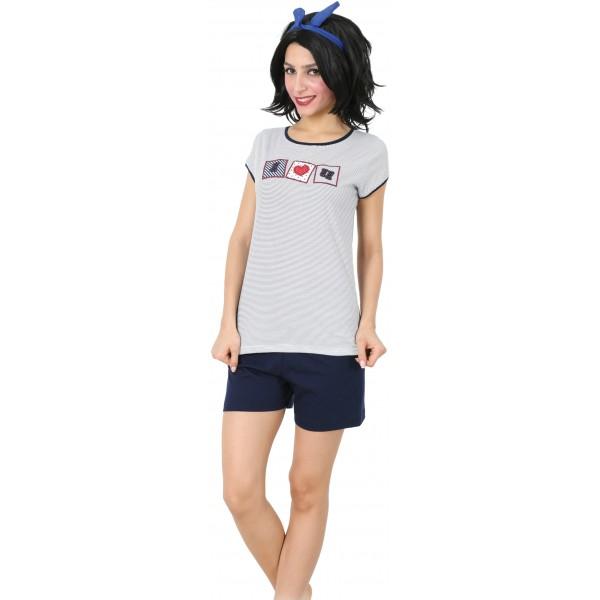 Pijama Corto Manga Corta Mujer Osita I o U