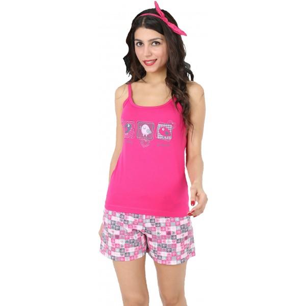 Pijama Corto Manga Tirantes Mujer 3 Pajaros