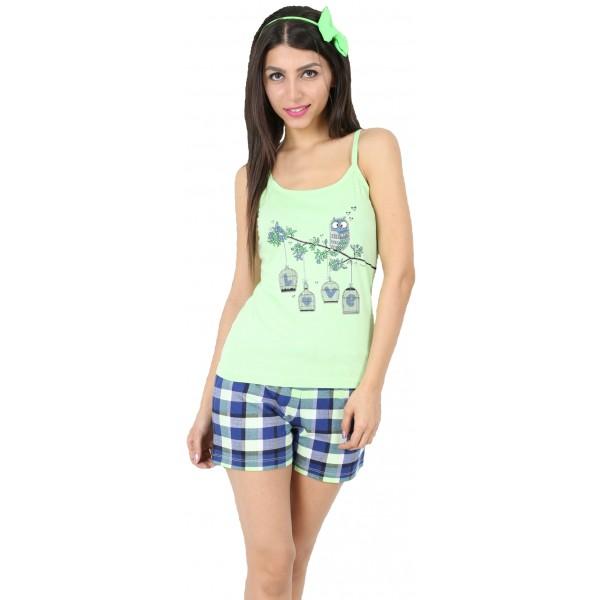Pijama Corto Manga Tirantes Mujer Buho