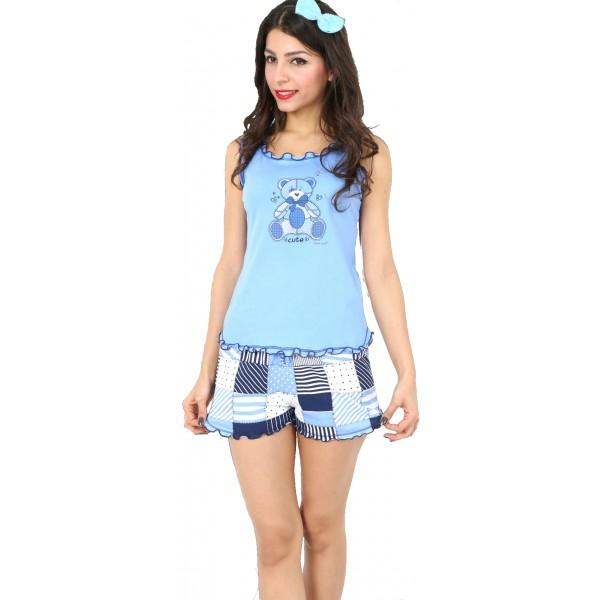 Pijama Corto Manga Tirantes Mujer Oso Cute