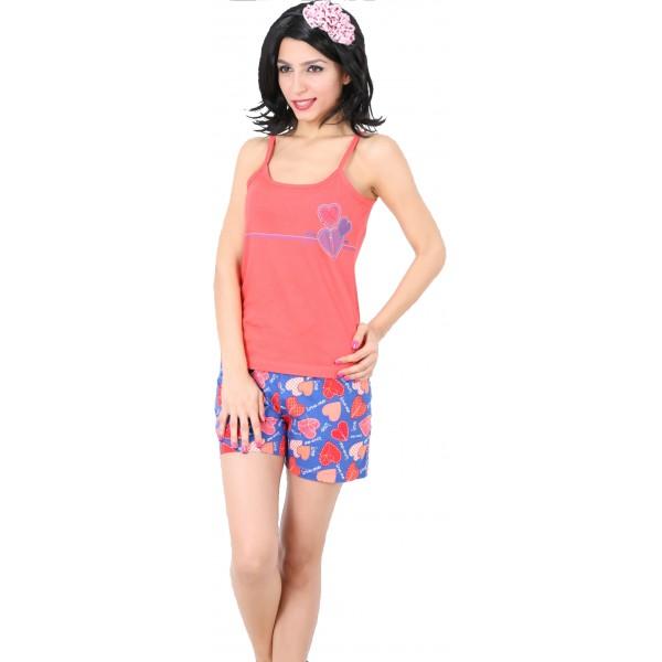 Pijama Corto Manga Tirantes Mujer Corazones
