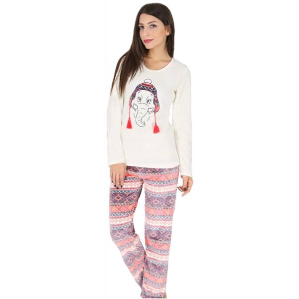 Pijama Terciopelo Largo Manga Larga Mujer Elefante Gorro