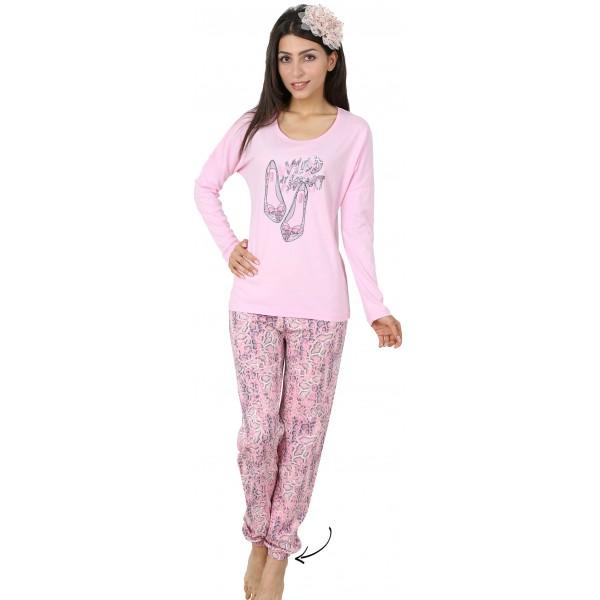 Pijama Largo Manga Larga Mujer Zapatitos Puño