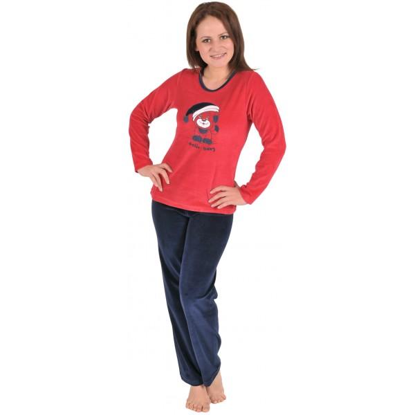 Pijama Terciopelo Largo Manga Larga Mujer Oso Gorro Tundosado