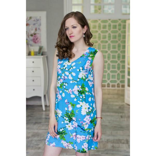 Vestido Corto Tirante Ancho Mujer Bolsillo Azul Flor