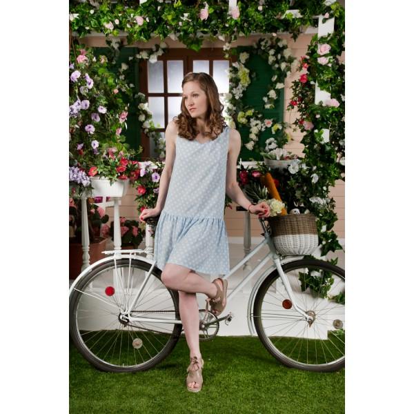Vestido Corto Tirante Ancho Mujer Volante Lunar Azul Pastel
