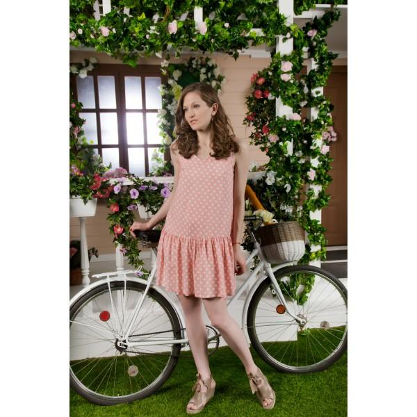 Vestido Corto Tirante Ancho Mujer Volante Lunar Rosa Pastel
