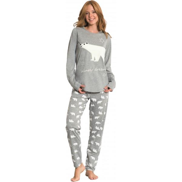 Pijama de Mujer Largo de Manga Larga Gris Oso Polar
