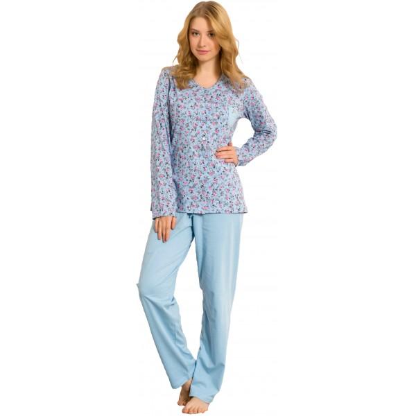 Pijama de Mujer Largo de Manga Larga Chaqueta Bolsillo