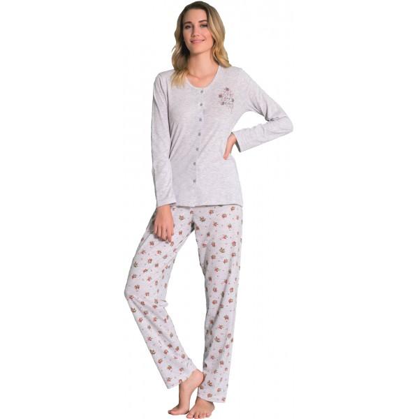 Pijama de Mujer Largo de Manga Larga de Chaqueta Gris Flores