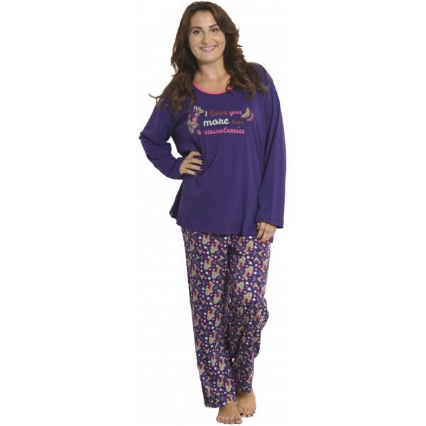 Pijama Talla Grande de Mujer Largo de Manga Larga Fresas