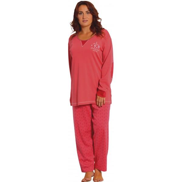 Pijama Talla Grande Perchado/Interlok Largo de Manga Larga Mujer Coderas