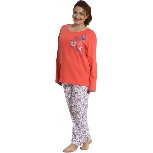 Pijama Talla Grande de Mujer Largo Pantalon Flores