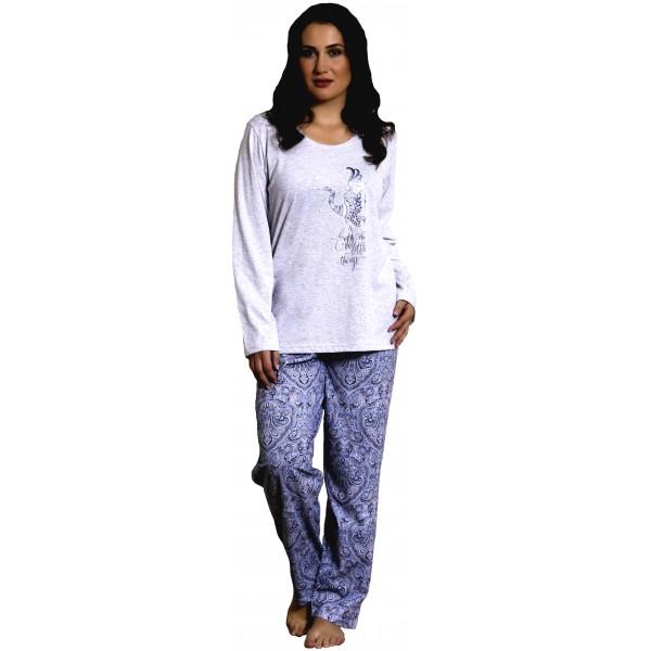 Pijama Talla Grande de Mujer Largo de Manga Larga Pavo Espirales