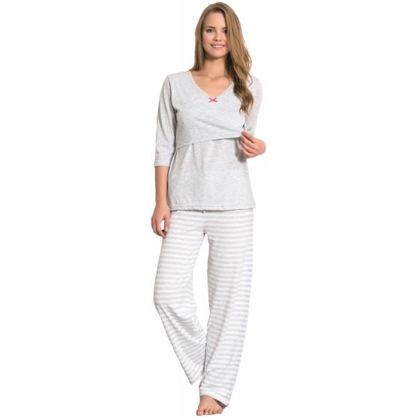 Pijama Premama Mujer Largo Managa 3/4 Rayas