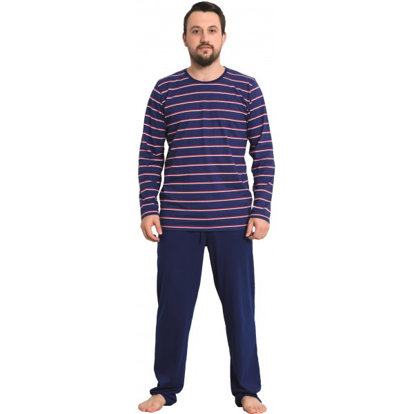 Pijama Hombre Largo Manga Larga Marino Rayas