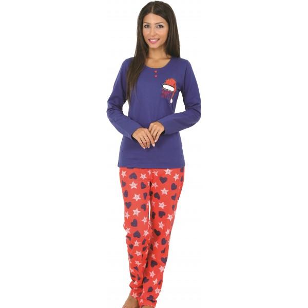 Pijama Perchado/Felpa Largo Manga Larga Mujer Gorro Noel