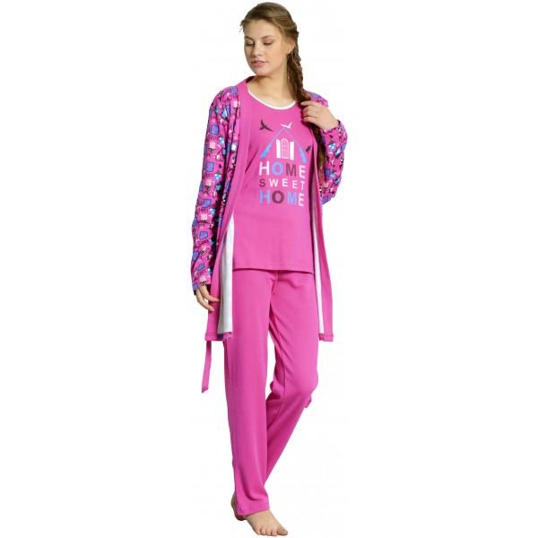 Conjunto Pijama y Bata Manga Larga Mujer Home Sweet