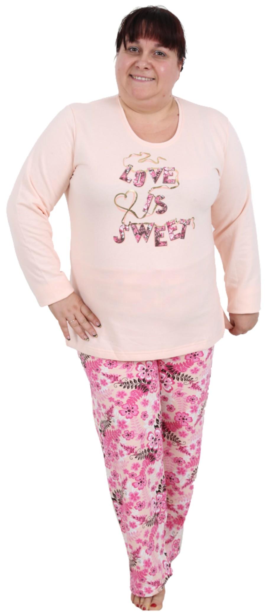 837c2e933c Pijama Talla Grande Perchado Felpa Largo Manga Larga Mujer Love Sweet -  Moda y Pijamas
