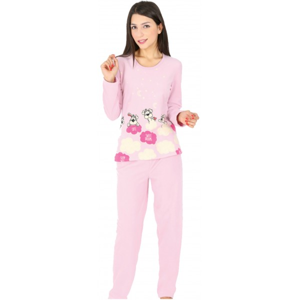 Pijama Polar Largo Manga Larga Mujer Perro Nubes