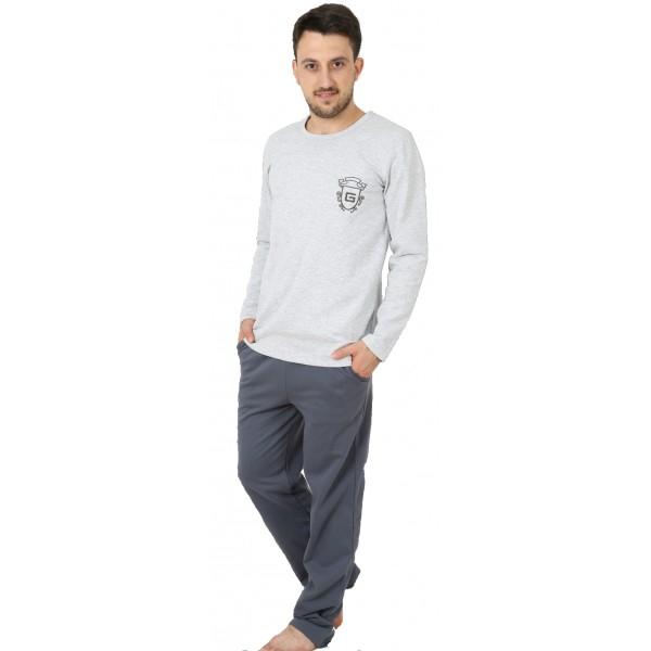 Pijama Hombre Perchado/Felpa Largo Manga Larga Clasico