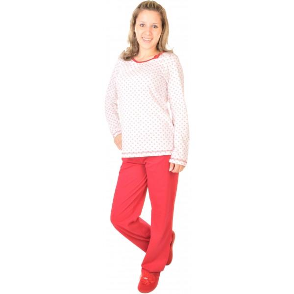 Pijama Largo Manga Larga Mujer Clasico con Rosa