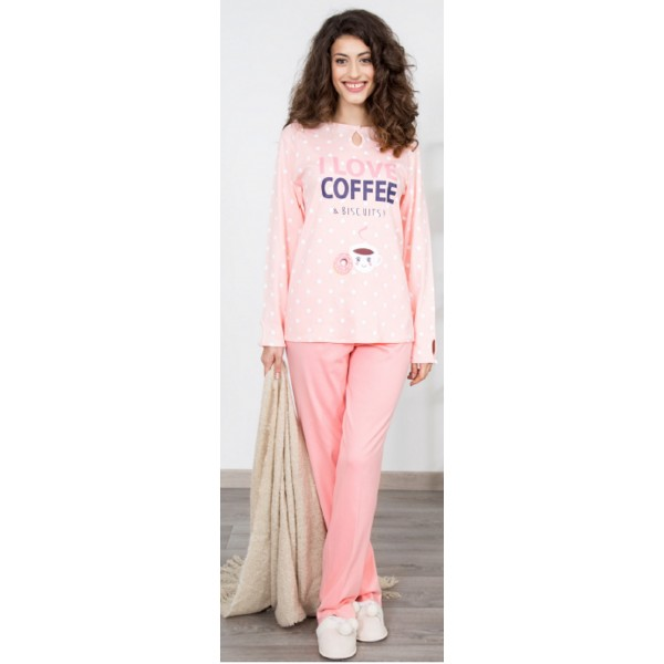 Pijama Largo Manga Larga Mujer Lunares Coffee