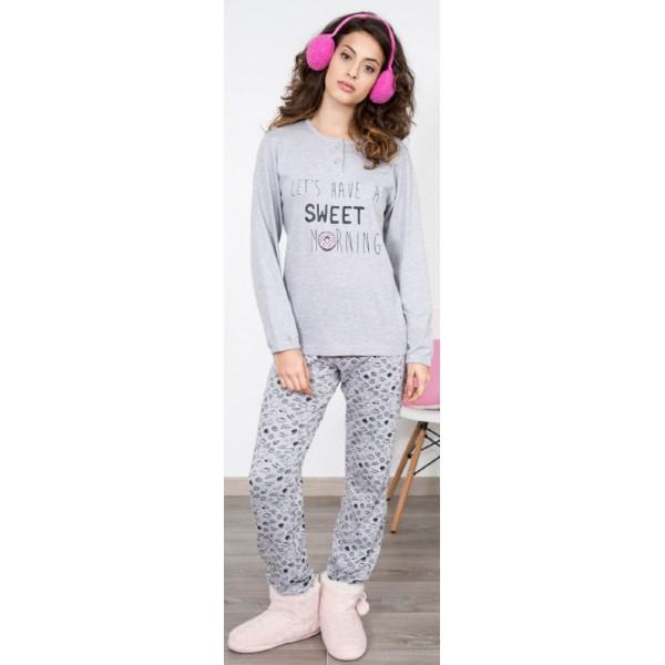 Pijama Largo Manga Larga Mujer Desayuno