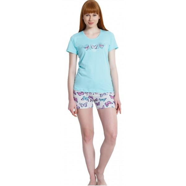 Pijama Corto Manga Corta Mujer Mariposas