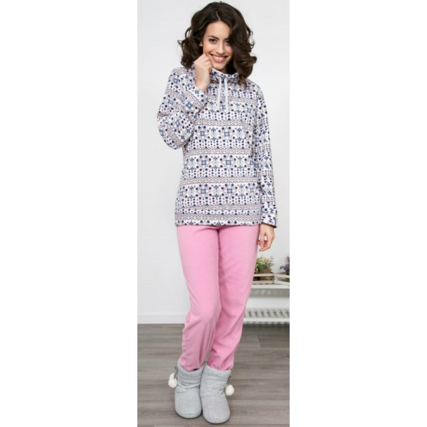 Pijama Polar/Coralina Largo Manga Larga Mujer Cuello Alto