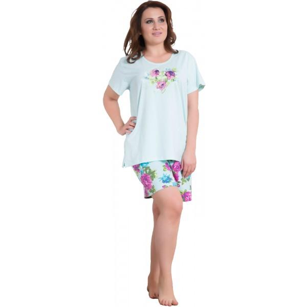 Pijama Talla Grande Corto Manga Corta Mujer Pantalon Flores