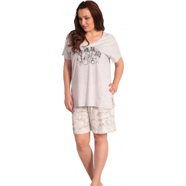 Pijama Talla Grande Corto Manga Corta Mujer Collar