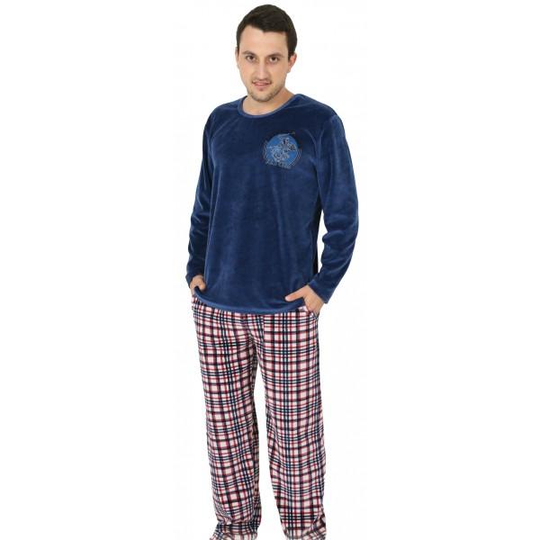 Pijama Hombre Terciopelo Largo Tundosado