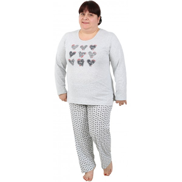 Pijama Talla Grande Largo Manga Larga Mujer Corazon Pecho