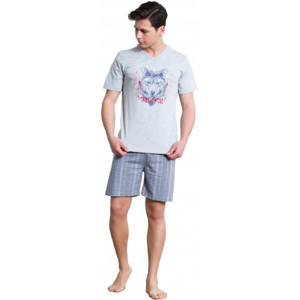 Pijama Hombre Corto Manga Corta Lobo
