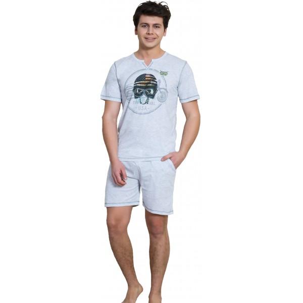 Pijama Hombre Corto Manga Corta Casco Moto