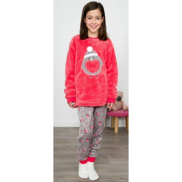 Pijama Polar Largo Manga Larga Niña Pinguino