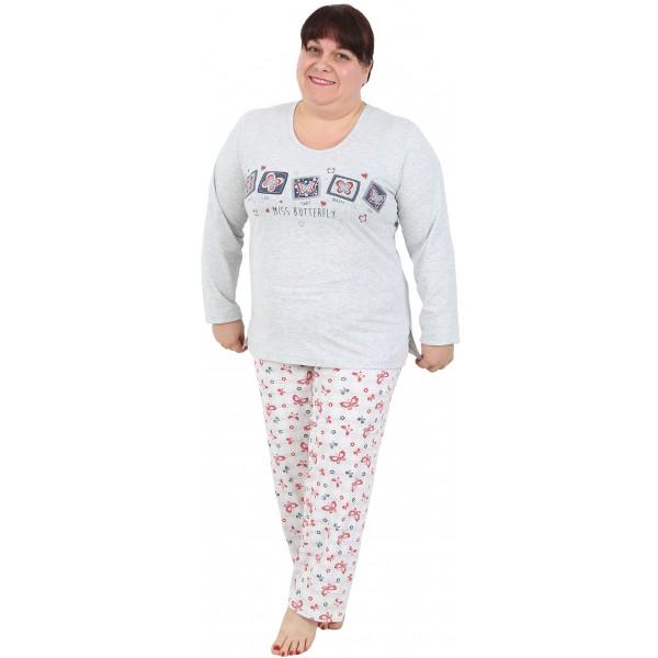 Pijama Talla Grande Largo Manga Larga Mujer Miss Butterfly