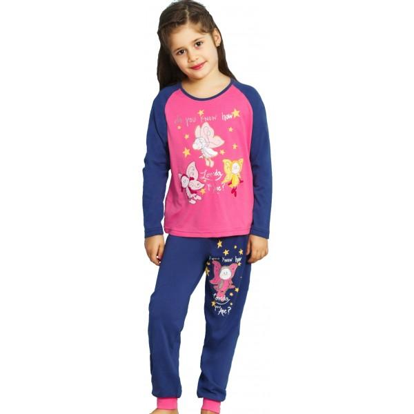 Pijama Manga Larga Mariposas Puño Niña