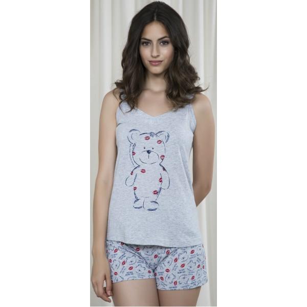 Pijama Corto Manga Tirantes Mujer Oso Labios