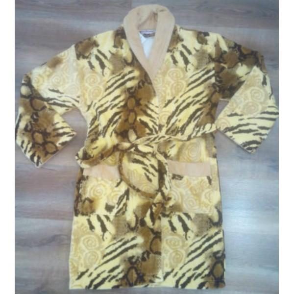 Bata / Albornoz Manga Larga Terciopelo Leopardo