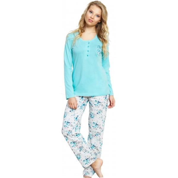 Pijama Largo Manga Larga Mujer Liso Pantalon Flores