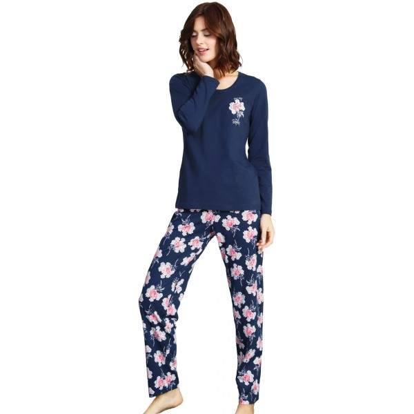43af3eac1 Pijama Largo Manga Larga Mujer Pantalon Flores - Moda y Pijamas