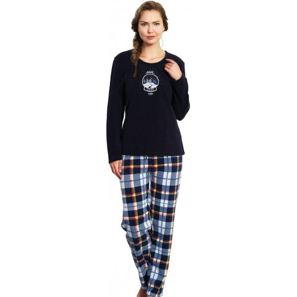 Pijama Polar Largo Manga Larga Mujer Pantalon Cuadros